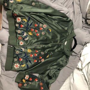 Xhiliration green bomber jacket